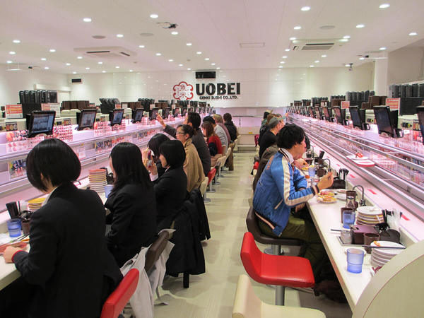 High-tech kaiten-sushi restaurant